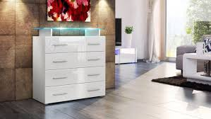 vladon white high gloss chest of drawers