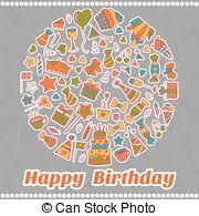 eps vector of hand drawn alphabet letters happy birthday design