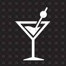 martini vector cocktail icon martini on black background vector clipart image