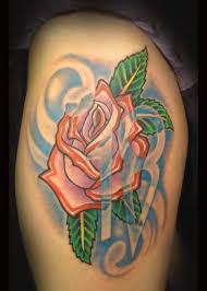 thigh tattoos rose