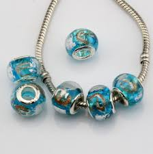 halloween lampwork beads mic sky blue gold silver foil alphabet e lampwork glass large hole