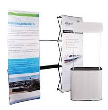 Pop Up Reception Desk Portable Trade Show Display Reception Desk With Curved Shape