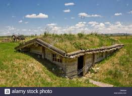 sod house at museum of the fur trade chadron nebraska usa stock
