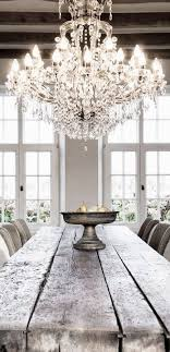 Decor Chandelier Glamorous Chandelier With A Wooden Farm Table Interior Decor Home