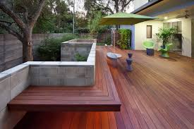 Decks With Benches Built In Ipe Wall Porch Modern With Wood Deck Block Wall Outdoor Living