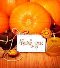 thank you orange background thanksgiving greeting card with