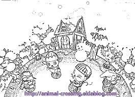coloriage acww dans la neige  Le monde danimal crossing ds