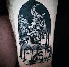 style black ink city on thigh tattooimages biz