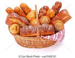 bakery basket lots of sweet bakery products in basket white background stock
