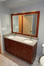 bathroom remodel jack and jill sinks framed standalone mirror