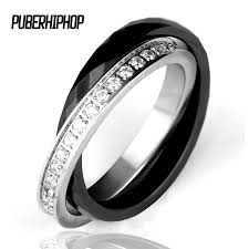 ceramic rings white images Fashion double stainless steel ceramic rhinestone ring nothing jpg