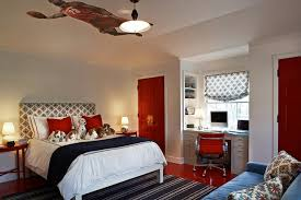 gray and red bedroom built in desk contemporary boy s room kristen panitch interiors