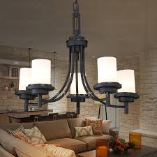 American Made Chandeliers 5 Light Black Wrought Iron Chandeliers Cylinder Glass Shade