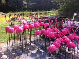 metal flamingos yard ornaments small size