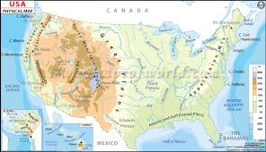 united states map with rivers and mountain ranges physical map of the united states of america