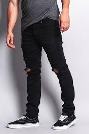 Black Skinny Jeans With Holes Biker Distressed Knee Hole Slim Jeans Dl1022 E3c U2013 G Style Usa
