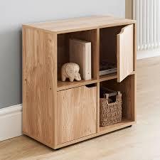 effect wooden storage unit shelf 4 cube 2 door
