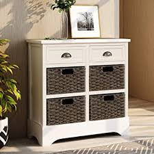 antique white kitchen storage cabinet p purlove storage chest retro style storage cabinet storage unit with 2 wood drawers and 4 wicker baskets for home kitchen entryway living room