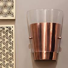 Copper Walls Modern Copper Wall Sconces With Clear Glass Mounted In The Walls