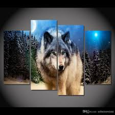 2017 4 panel canvas art canvas painting wolf stare starry night hd