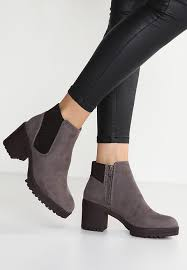 ankle boots uk look look column ankle boots mid grey zalando co uk