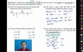 common core algebra i unit 7 lesson 5 factoring trinomials youtube
