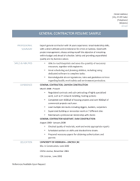 Resume Samples General by Sample Resume Of General Contractor Augustais