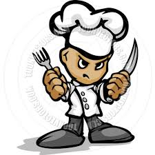 Kitchen Forks And Knives Tough Guy Cartoon Kitchen Chef With Hat Holding Knife And Fork