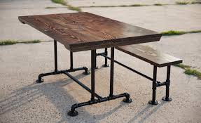 beautiful metal base for dining table with industrial steelbeam