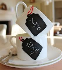 decoration coffee mugs with chalkboard paint name tags equipped