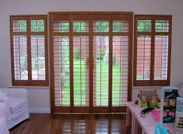 wood blinds for french doors exterior with built in garden