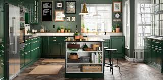 colored cabinets for kitchen green kitchen cabinets bodbyn series ikea