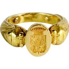 antique gold rings images Antique art nouveau french unusal man s signet ring 18 k yellow jpg