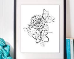 flower drawing etsy