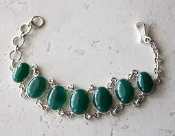 stone silver bracelet images Green onyx stone bracelet 925 sterling silver bracelet chunky jpg