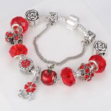 flower beads bracelet images Homod dropshipping red apple charm bracelets with flower beads jpg