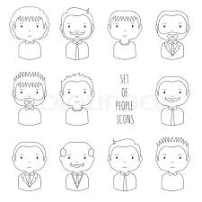 set of line male faces icons funny cartoon hand drawn faces