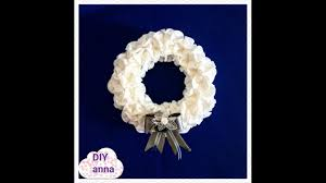 christmas door wreath with cotton and pearls diy ideas decorations