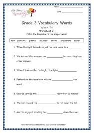 grade 3 vocabulary worksheets week 36 lets share knowledge