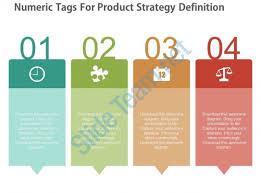 design template in powerpoint definition ppt four numeric tags for product strategy definition flat