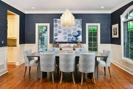 15 modern wallpapers for contemporary decorators transitional dining room textured navy wallpaper