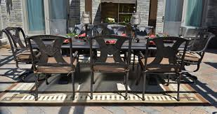 Dining Room Swivel Chairs Amalia 8 Person Luxury Cast Aluminum Patio Furniture Dining Set