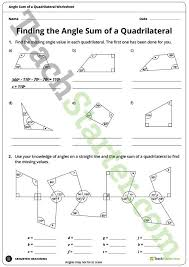 finding the angle sum of a quadrilateral worksheet teaching