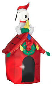 snoopy doghouse christmas decoration gemmy 85764 airblown christmas lights up snoopy and woodstock on