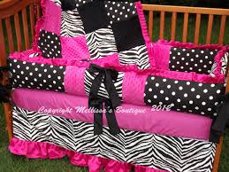 custom pink black and white zebra ruffled crib bedding