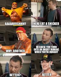 Eat A Snickers Meme - wrestlinglol why john cena needs to eat a snikers