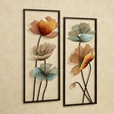 Brown And Teal Home Decor Decorations 2 Brown Tuscany Bloom Wall Art Panels Set Metal Wall