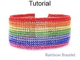 beaded rainbow bracelet herringbone stitch with seed beads easy