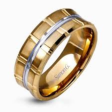 modern mens wedding bands 14k white yellow gold sleek modern men s wedding band simon g