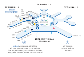 sfo airport map united airlines